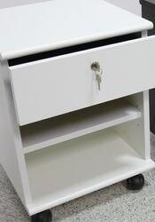 WHITE 1-DRAWER CHEST WITH SHELF